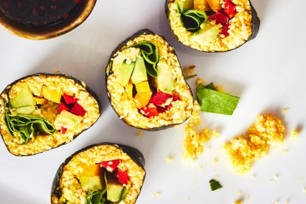 Raw Turmeric Cauliflower Sushi