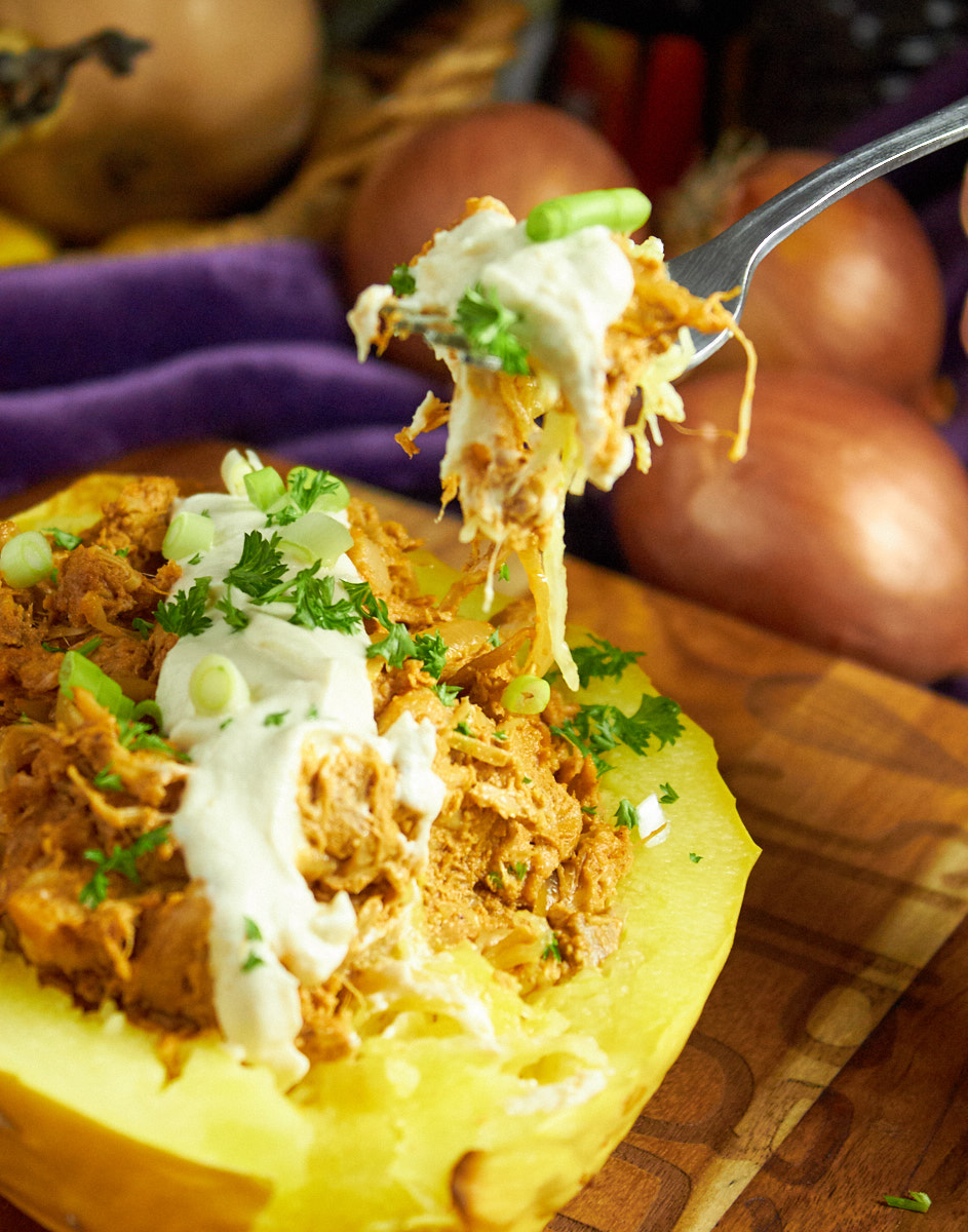 Stuffed Spaghetti Squash with Jackfruit Pulled Pork and Cream
