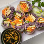 Rice Paper Rolls with Purple Noodles and Tofu
