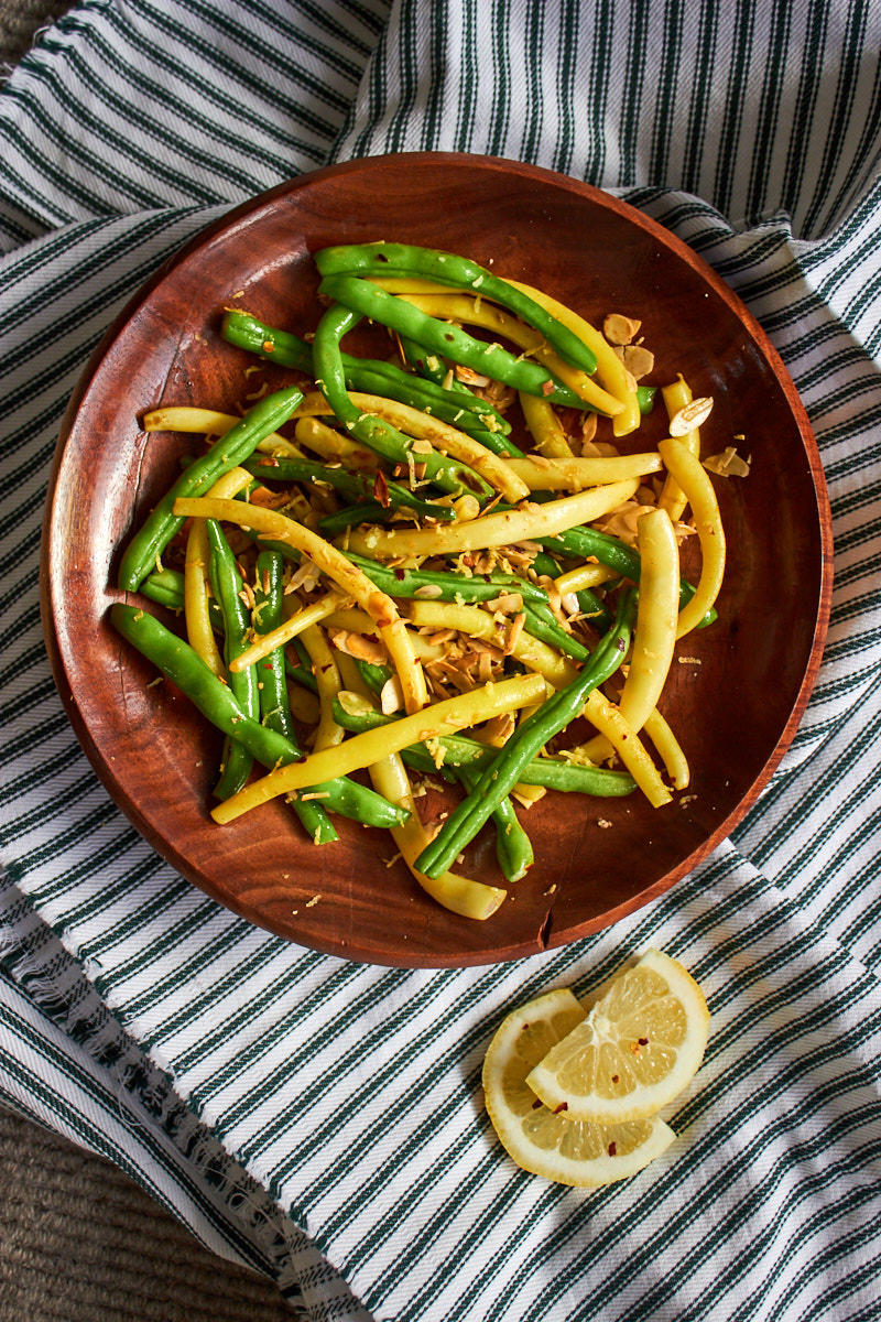 Yellow And Green Living Room Decor: Yellow And Green Beans With Chilli, Lemon And Almonds