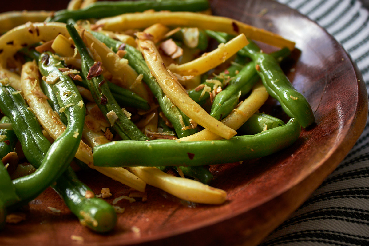 Yellow and Green Beans with Chilli, Lemon and Almonds