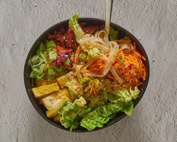 Vegan Duck and Rice Noodle Salad Bowl