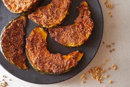 Pesto Peanut Crusted Pumpkin Wedges