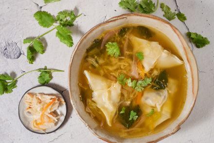 Sauerkraut wontons and wonton soup